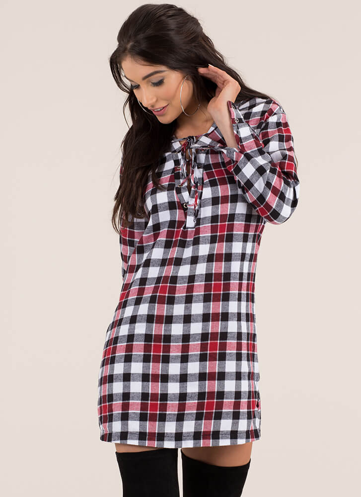 ebffe41f9f From Good To Plaid Lace-Up Shirt Dress BLACKRED (Final Sale) ...