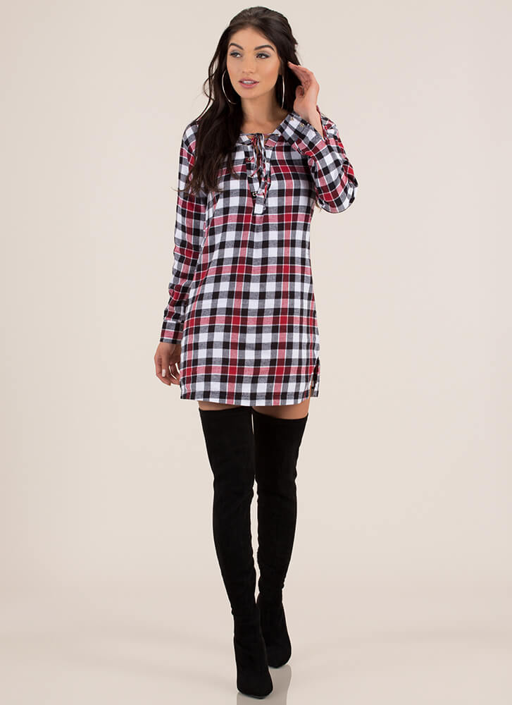 From Good To Plaid Lace-Up Shirt Dress BLACKRED