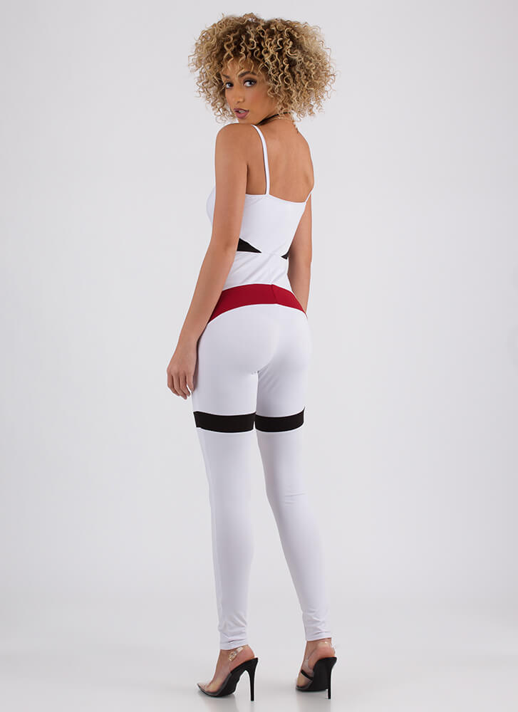 Sporty In Stripes Colorblock Jumpsuit WHITE