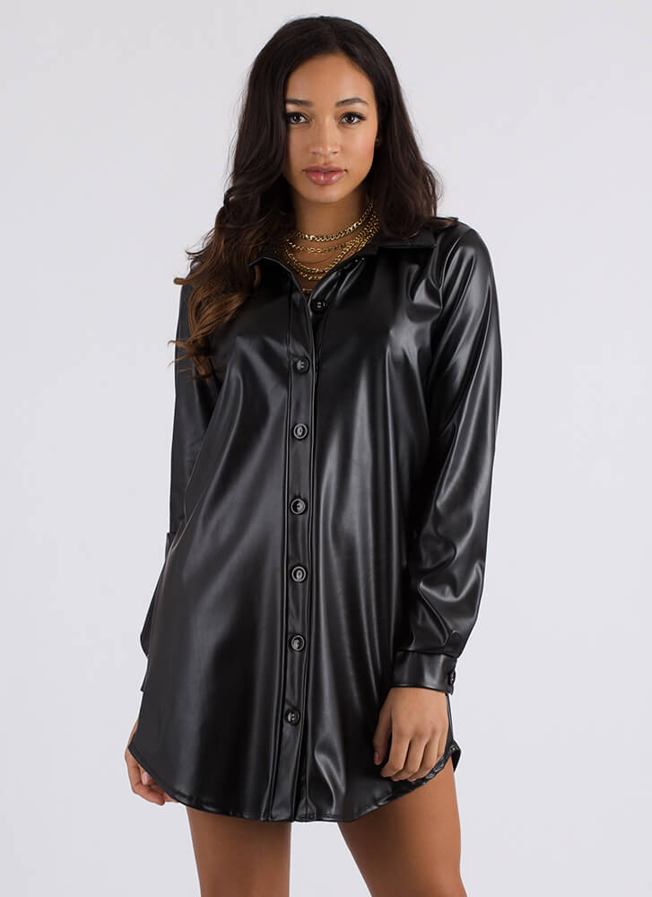 Leather Report Button-Up Shirt Dress BLACK