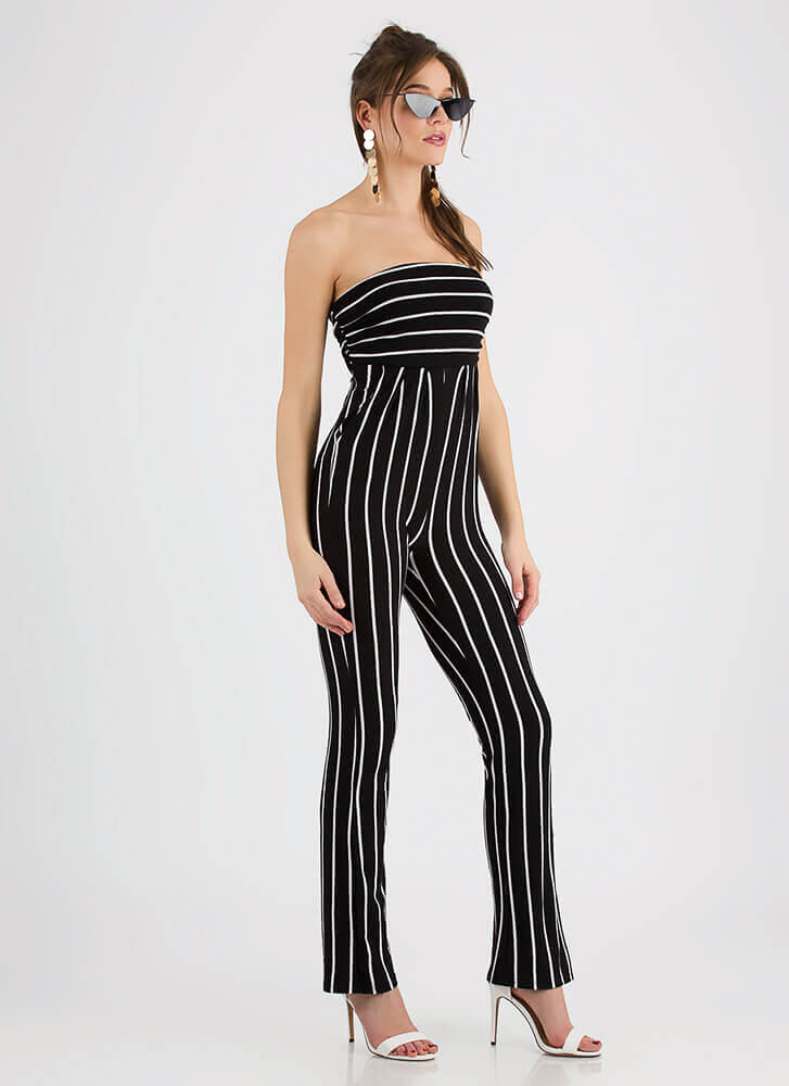 Go On Stripe Strapless Ruched Jumpsuit BLACK
