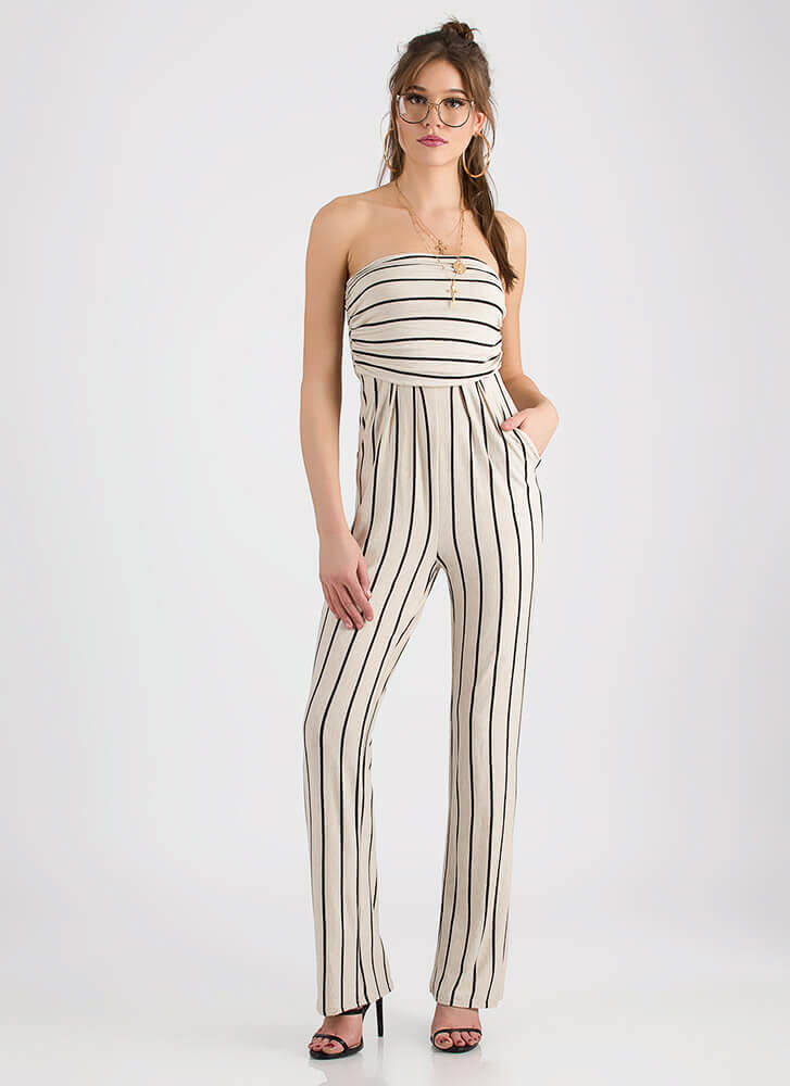 Go On Stripe Strapless Ruched Jumpsuit OATMEAL