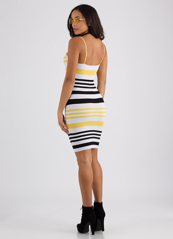 Stripe Me Down Rib Knit Tank Dress YELLOW