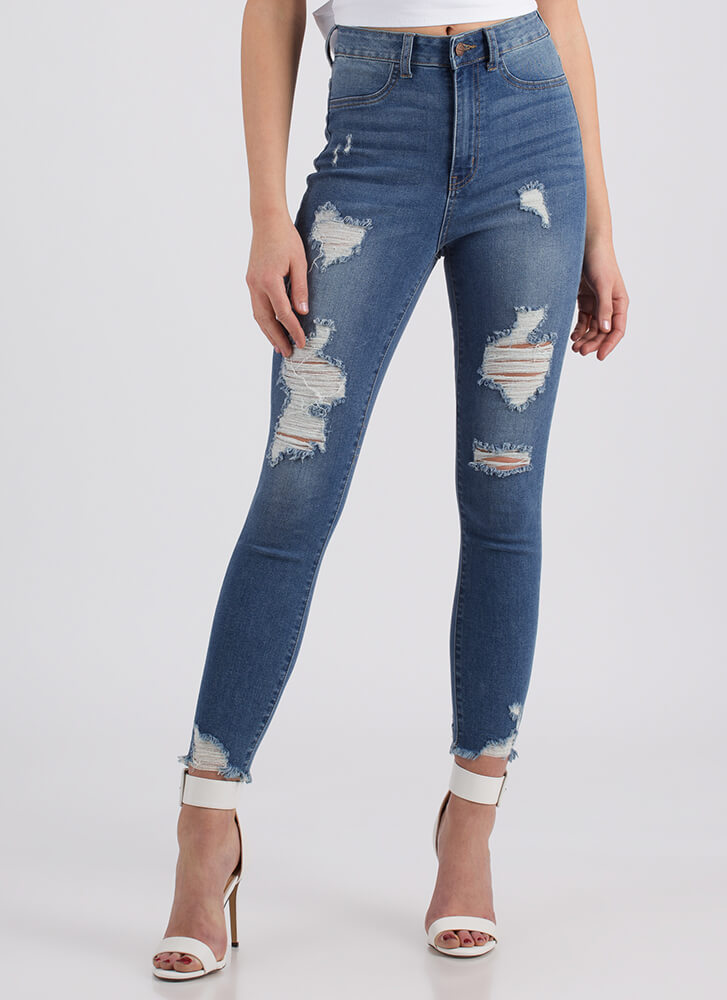Destroyed It High-Waisted Skinny Jeans BLUE
