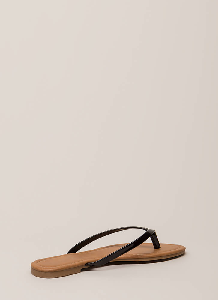 Everyday Wear Faux Patent Thong Sandals BLACK