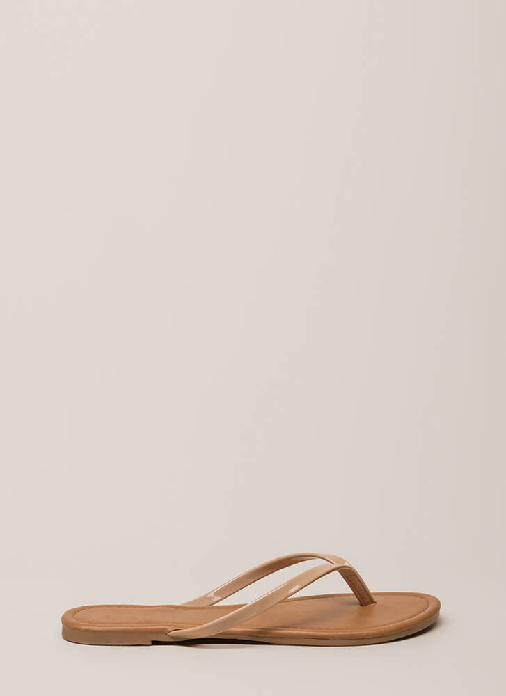 Everyday Wear Faux Patent Thong Sandals NUDE