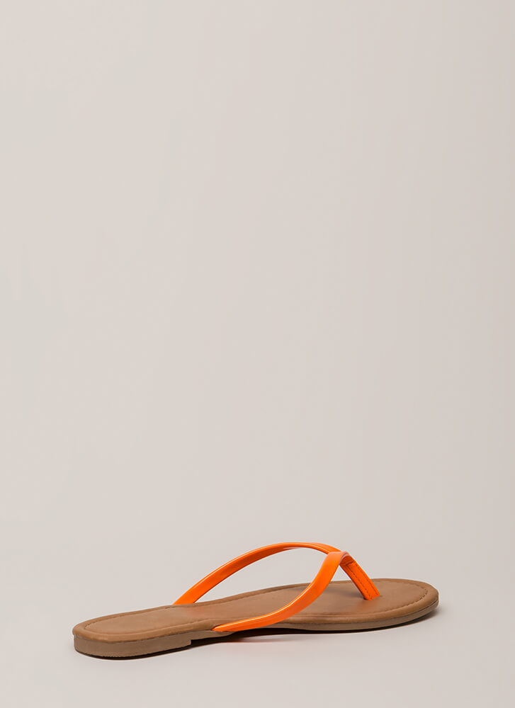 Everyday Wear Faux Patent Thong Sandals ORANGE