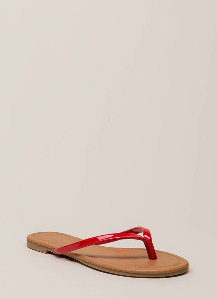 Everyday Wear Faux Patent Thong Sandals RED (You Saved $7)