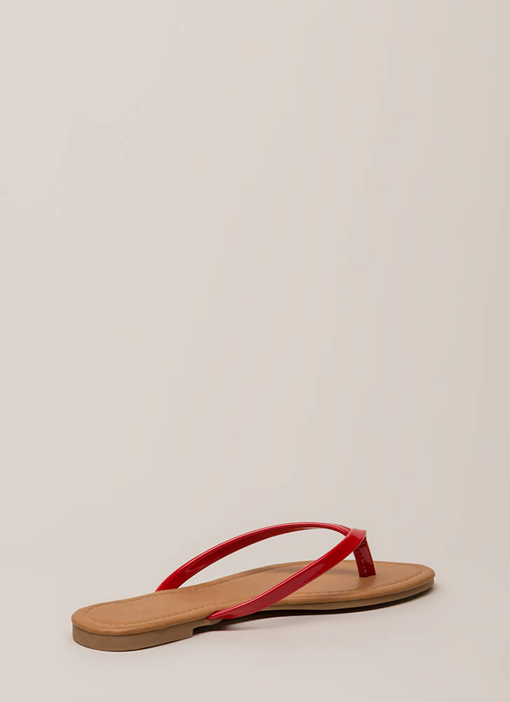 Everyday Wear Faux Patent Thong Sandals RED