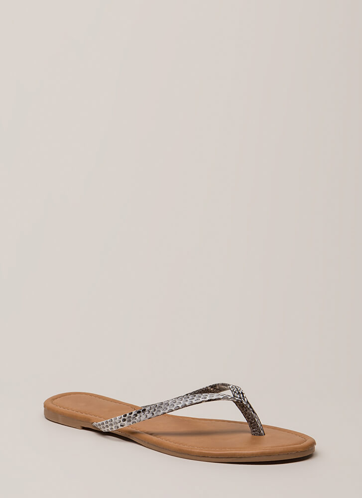 Everyday Wear Faux Patent Thong Sandals SNAKE