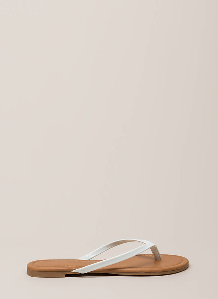 Everyday Wear Faux Patent Thong Sandals WHITE