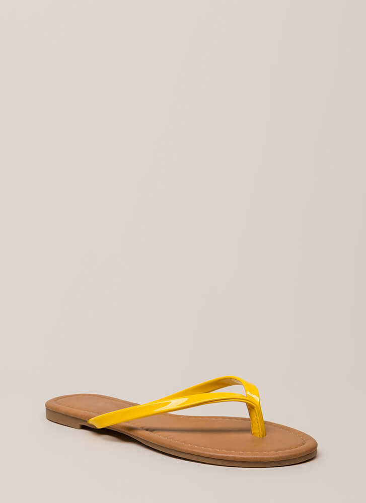 Everyday Wear Faux Patent Thong Sandals YELLOW