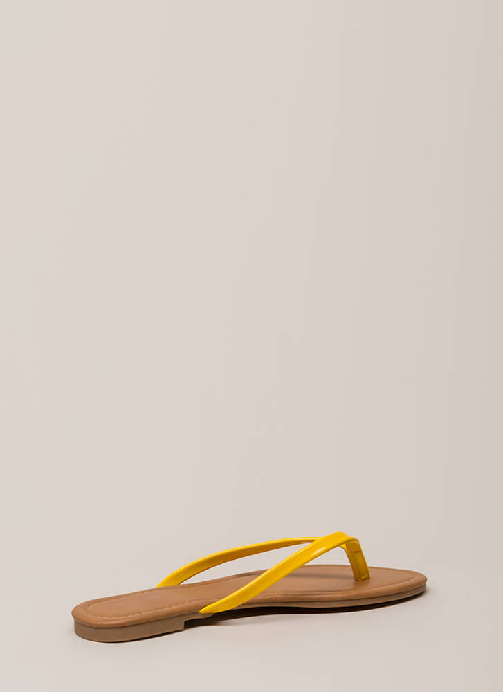 Everyday Wear Faux Patent Thong Sandals YELLOW (You Saved $7)