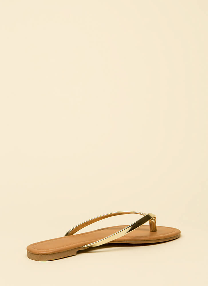 Everyday Wear Metallic Thong Sandals GOLD