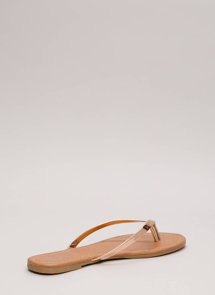 Everyday Wear Metallic Thong Sandals ROSEGOLD
