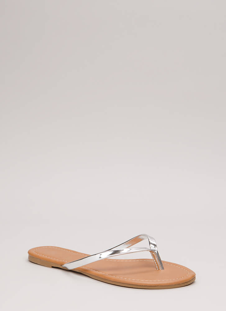 Everyday Wear Metallic Thong Sandals SILVER