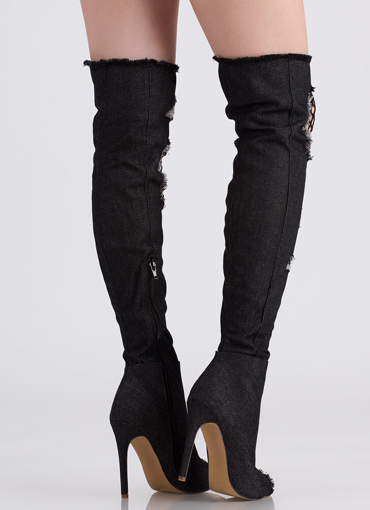 Hole Thing Peep-Toe Thigh-High Boots BLACK