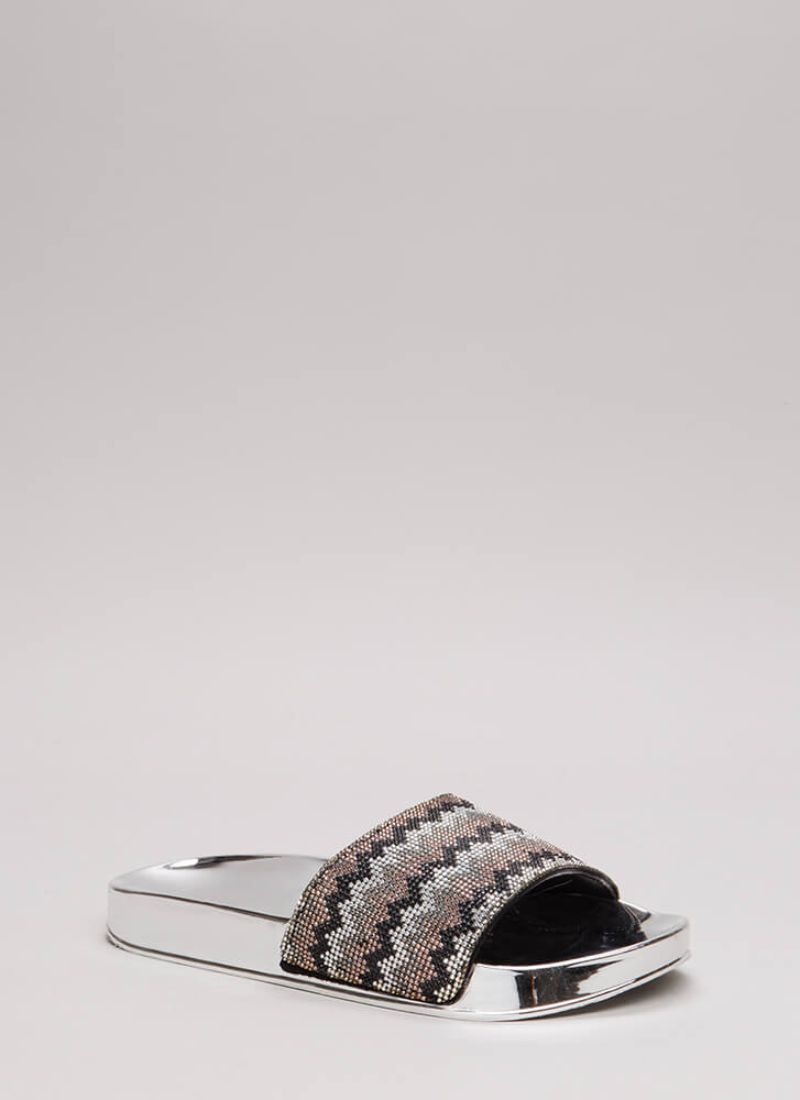 Going Zigzag Jeweled Slide Sandals BLACKMULTI (Final Sale)