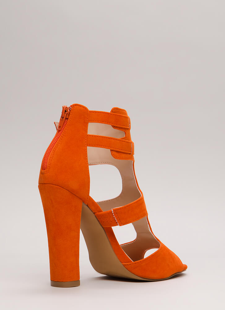 Gettin' It Strappy Caged Cut-Out Heels ORANGE