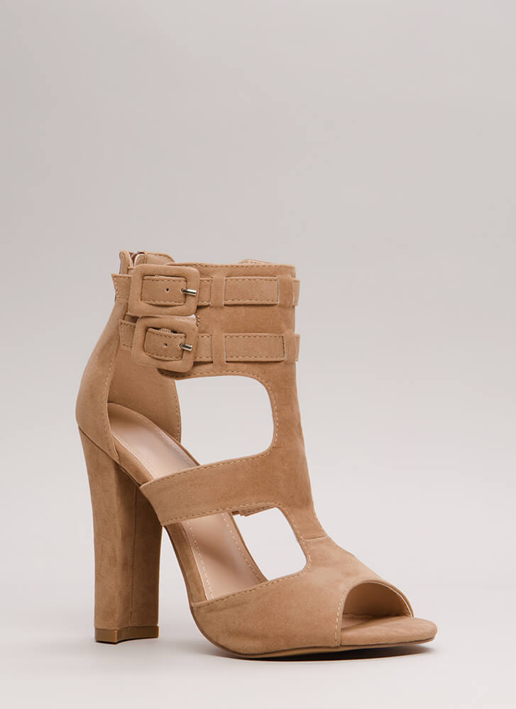 Gettin' It Strappy Caged Cut-Out Heels TAUPE
