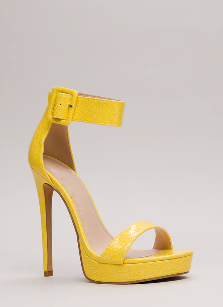 Scale These Heights Stiletto Platforms YELLOW