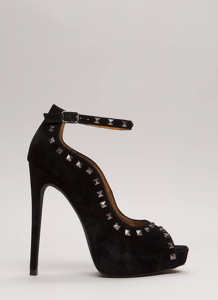 Waving Hi Studded Peep-Toe Platforms BLACK