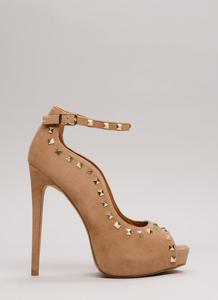 Waving Hi Studded Peep-Toe Platforms TAUPE