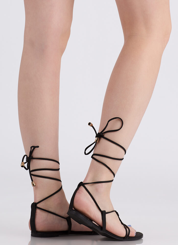 Tied Game Faux Leather Gladiator Sandals BLACK
