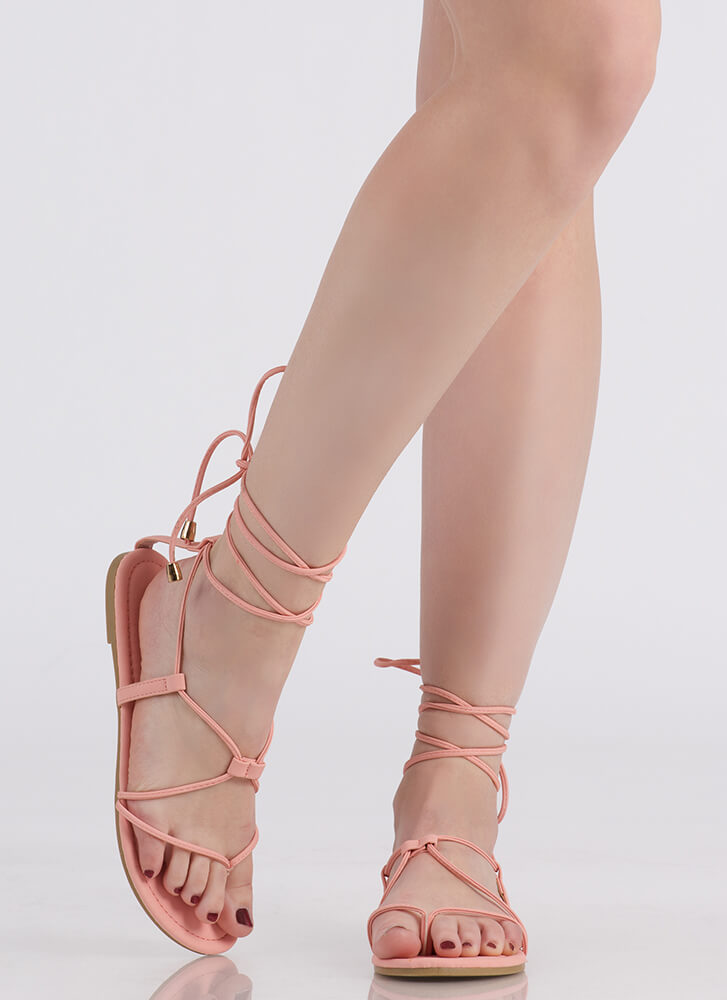 Tied Game Faux Leather Gladiator Sandals BLUSH
