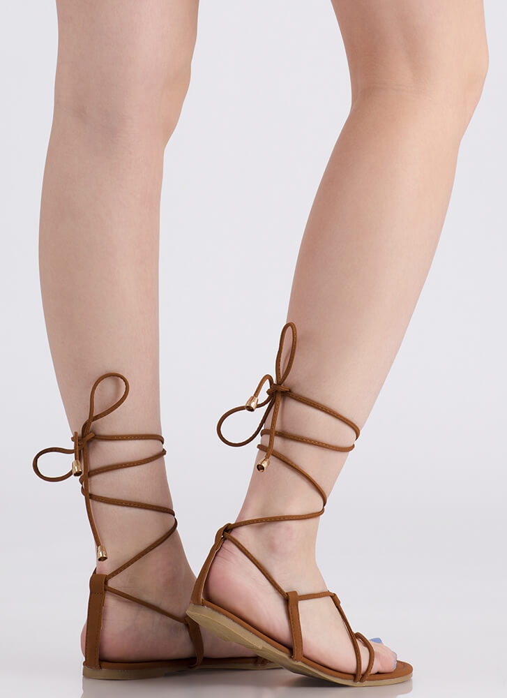 Tied Game Faux Leather Gladiator Sandals COGNAC