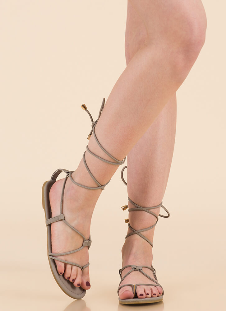 Tied Game Faux Leather Gladiator Sandals GREY