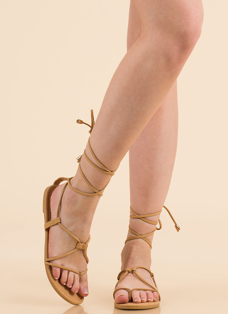 Tied Game Faux Leather Gladiator Sandals NUDE