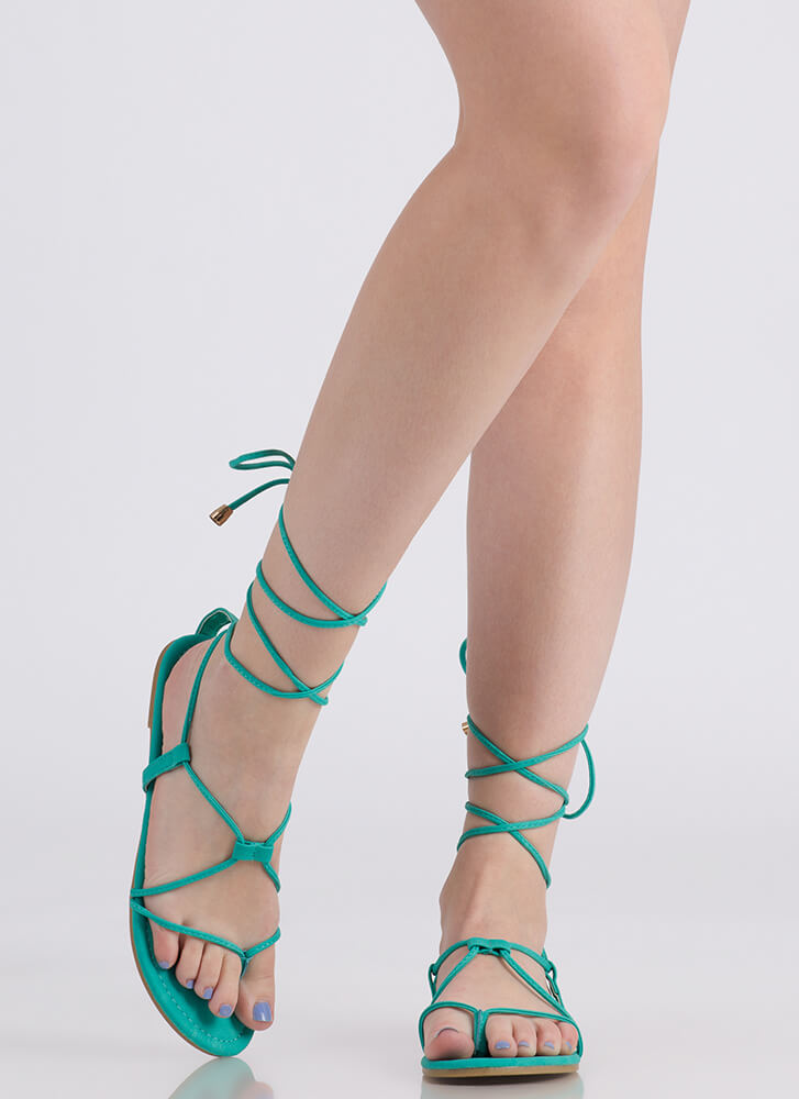 Tied Game Faux Leather Gladiator Sandals SEAGREEN