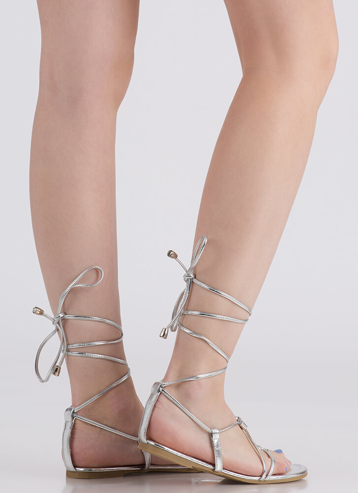 09dfefc033a ... Tied Game Metallic Gladiator Sandals SILVER (Final Sale) ...
