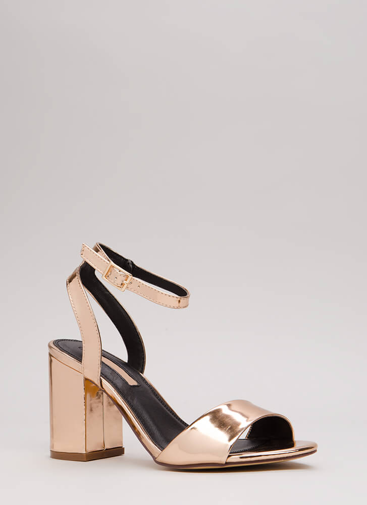 Block Me Chunky Faux Patent Heels ROSEGOLD