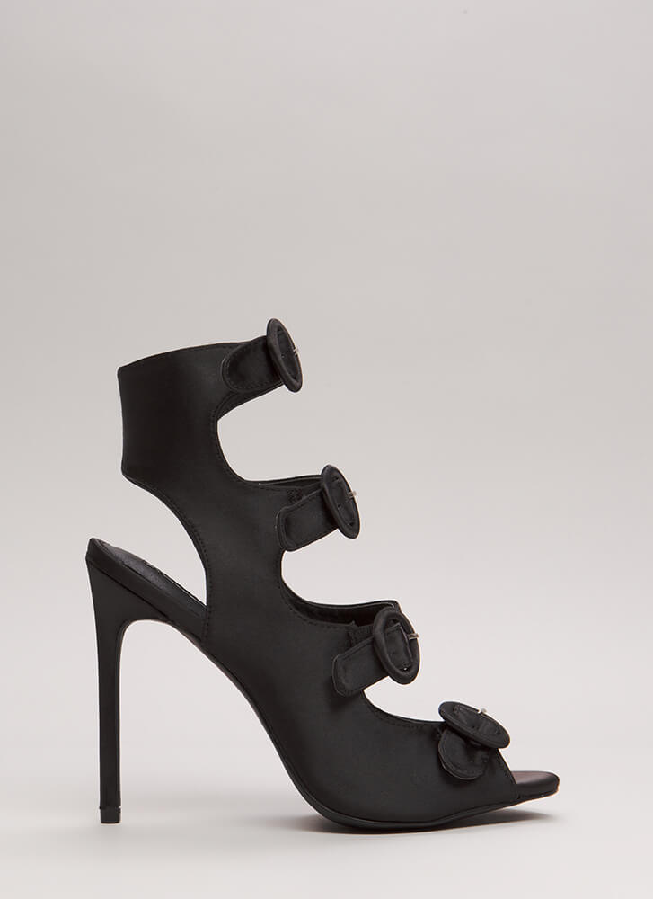 Four's Company Cut-Out Satin Heels BLACK