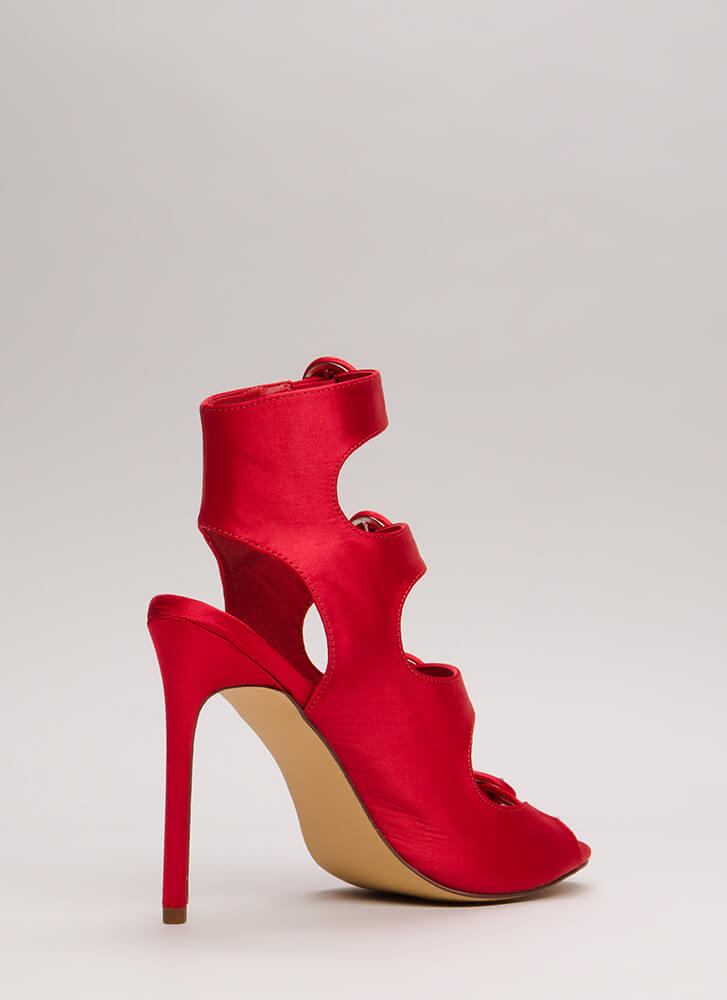 Four's Company Cut-Out Satin Heels RED