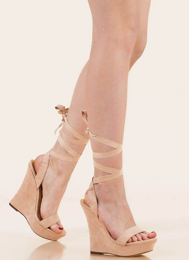 All Tied Up Faux Suede Platform Wedges NUDE