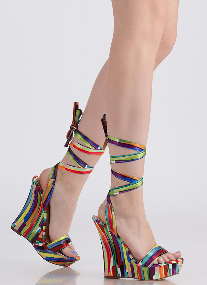 All Tied Up Abstract Print Satin Wedges MULTI