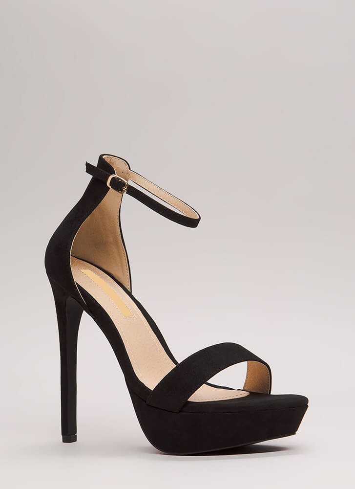 Higher Up Strappy Faux Suede Platforms BLACK