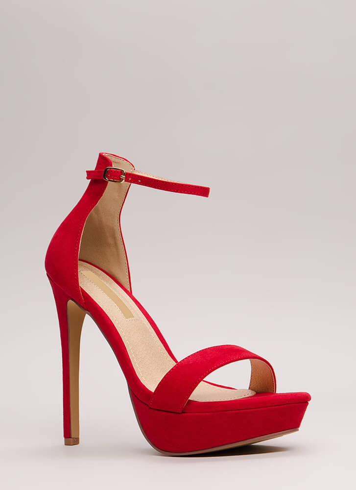 Higher Up Strappy Faux Suede Platforms RED