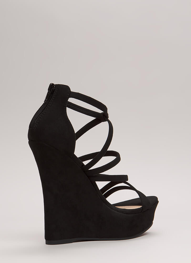 Knots And Straps Faux Suede Wedges BLACK