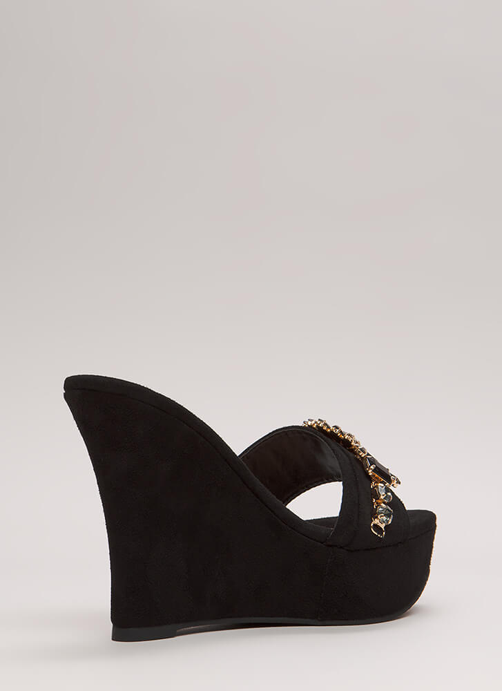 You're A Gem Jeweled Faux Suede Wedges BLACK