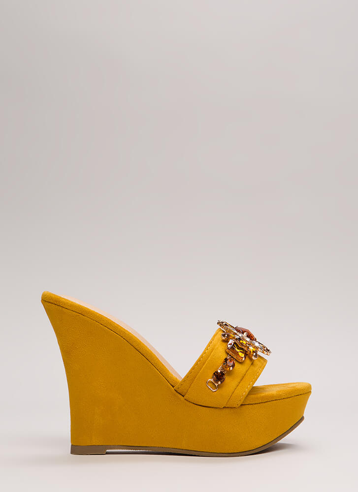 You're A Gem Jeweled Faux Suede Wedges MUSTARD