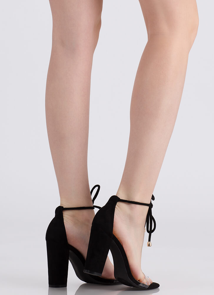 Clearly A Tie Chunky Faux Suede Heels BLACK