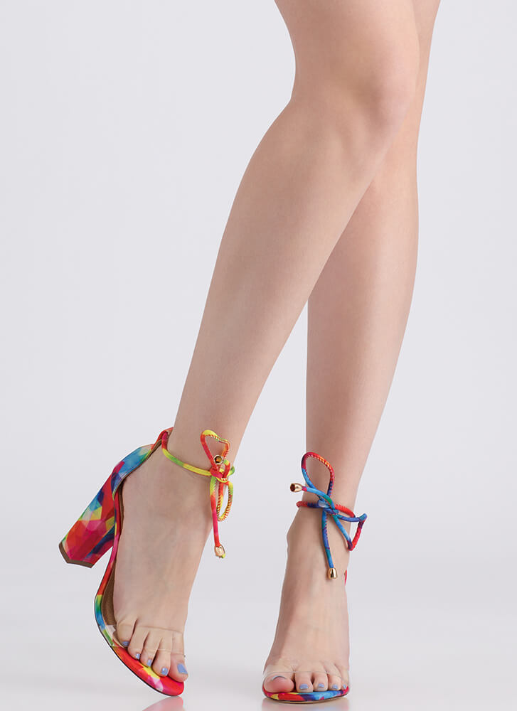 Clearly A Tie Chunky Rainbow Heels MULTI