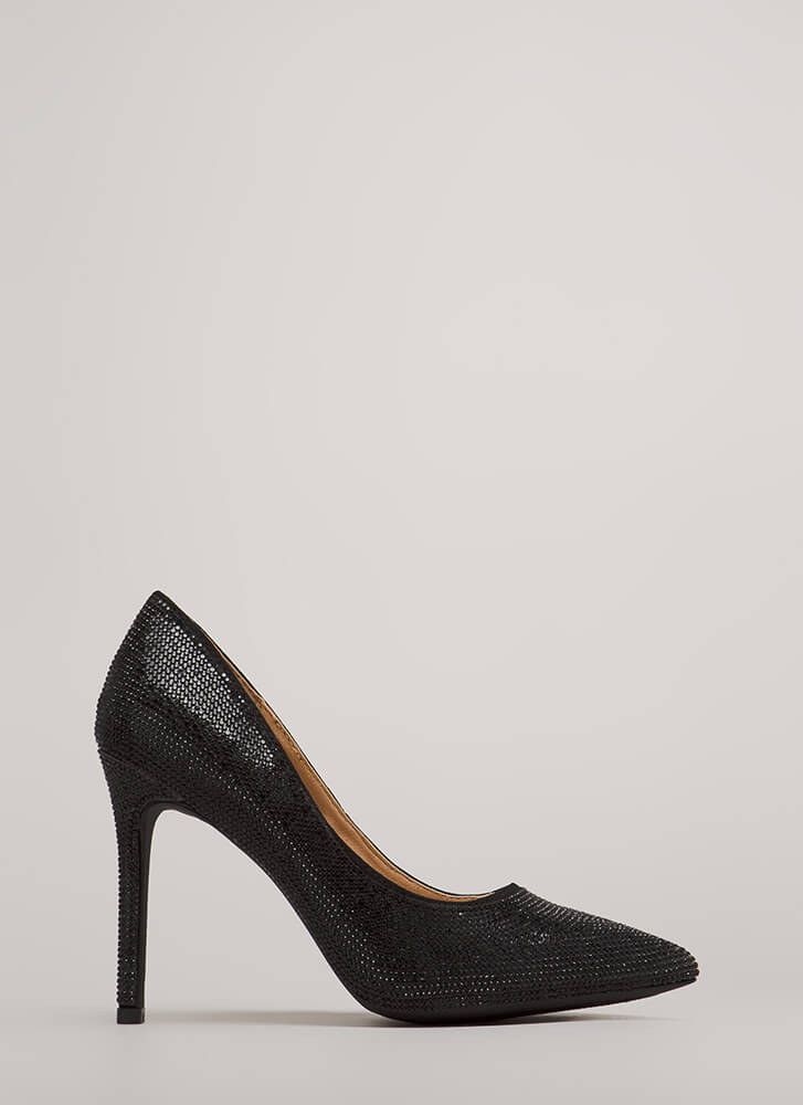 So Much Sparkle Pointy Jeweled Pumps BLACK