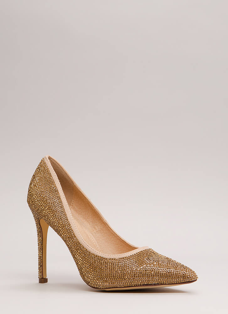 So Much Sparkle Pointy Jeweled Pumps GOLD