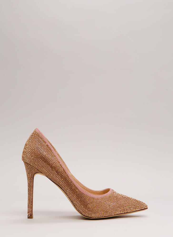 So Much Sparkle Pointy Jeweled Pumps ROSEGOLD