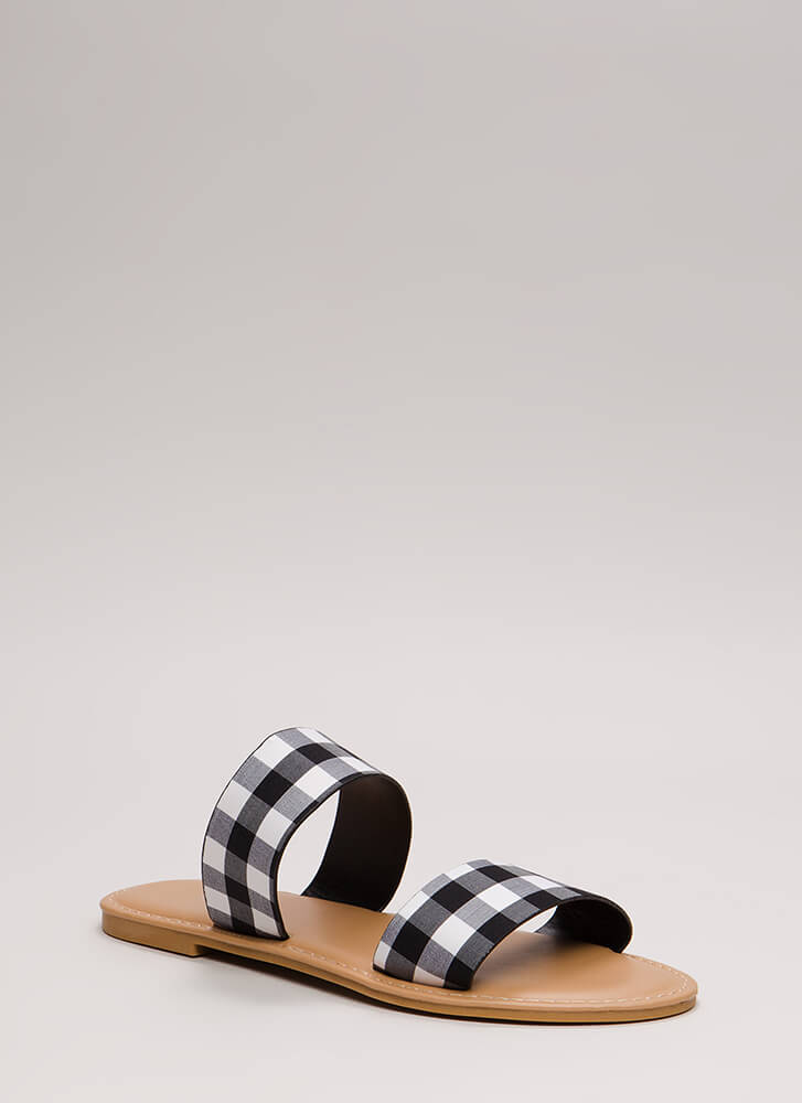 Coastline Stroll Gingham Slide Sandals BLACK
